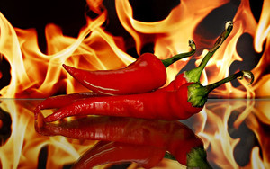 Смотреть обои Fire, Hot, Flame, Pepper, Reflection