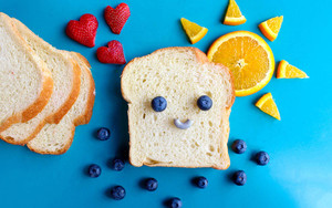 Preview wallpaper of bread, blueberries, orange, strawberries,food,art