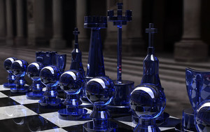 Смотреть обои 3D, Chess, Blue, Glass, Board, Form