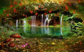 Preview wallpaper of Landscape, Nature, Flowers, Waterfall