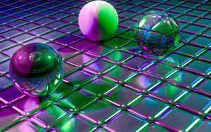 Смотреть обои Balls, Cubes, Shapes, Glitter, Reflection, 3D