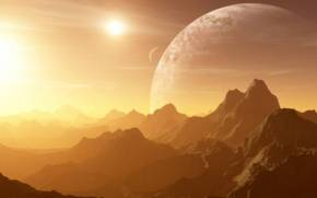 Preview wallpaper of Mountains, Sun, Planets