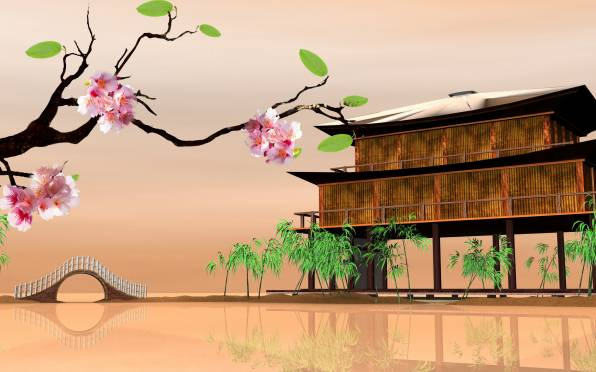 Превью обои: Eastern landscapes, Sakura, house on the water