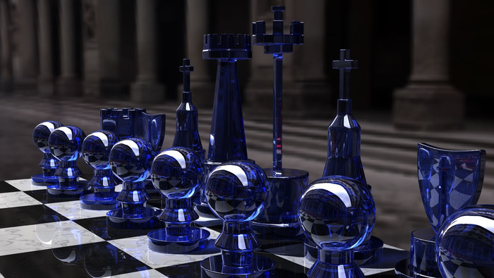 HD Wallpaper 3D, Chess, Blue, Glass, Board, Form