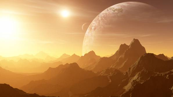 HD Wallpaper Mountains, Sun, Planets