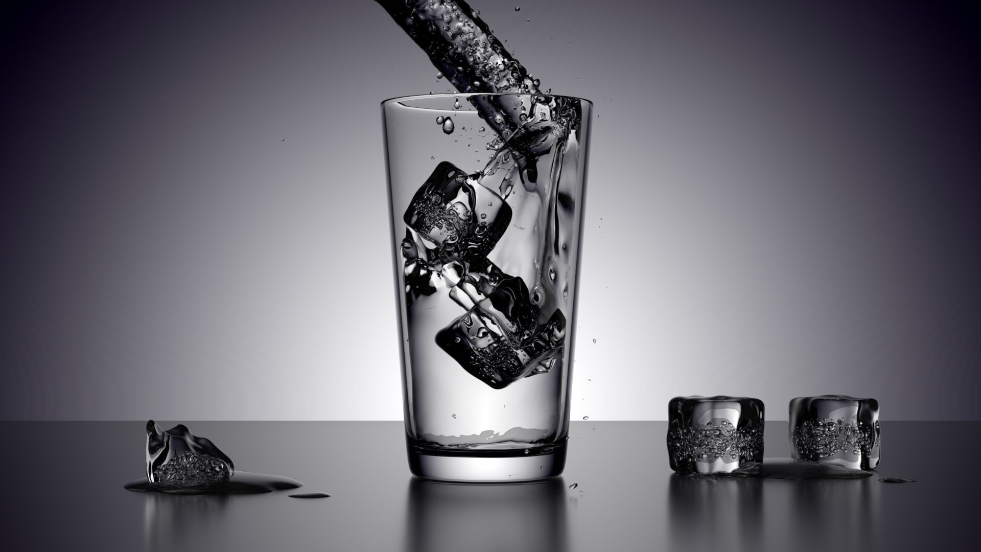 Wallpaper Of 3d Artistic Cup Glass Ice Ice Cube Water